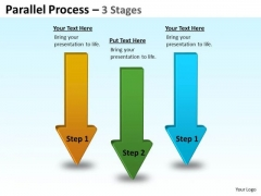 Mba Models And Frameworks Parallel Process 3 Stages Sales Diagram