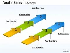 Mba Models And Frameworks Parallel Steps 3 Stages Business Diagram