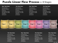 Puzzle Linear Flow Process 8 Stages Sales Diagram
