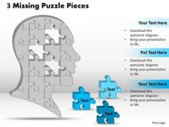 Sales Diagram 3 Missing Puzzle Pieces Business Finance Strategy Development