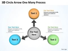Sales Diagram 3d Circle Arrow One Many Process Strategic Management