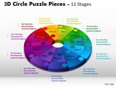Sales Diagram 3d Circle Puzzle Diagram 11 Stages Business Diagram