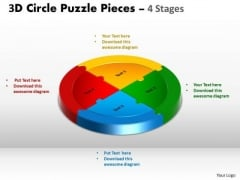 Sales Diagram 3d Circle Puzzle Diagram 4 Stages Consulting Diagram