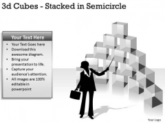 Sales Diagram 3d Cubes Stacked In Semicircle Consulting Diagram