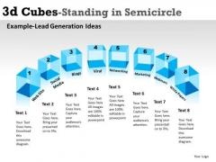 Sales Diagram 3d Cubes Standing In Semicircle Business Diagram