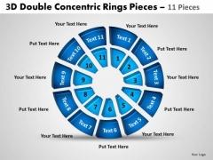 Sales Diagram 3d Double Concentric Rings Pieces 2 Marketing Diagram