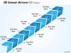 Sales Diagram 3d Linear Arrow 10 Stages Mba Models And Frameworks