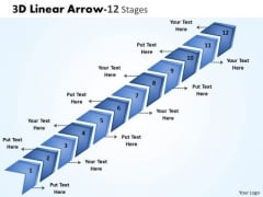 Sales Diagram 3d Linear Arrow 12 Stages Marketing Diagram