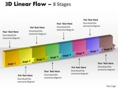 Sales Diagram 3d Linear Flow 8 Stages Consulting Diagram