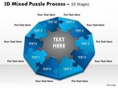 Sales Diagram 3d Mixed Puzzle Process 10 Business Cycle Diagram
