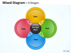 Sales Diagram 4 Staged Circular Mixed Diagram Business Finance Strategy Development