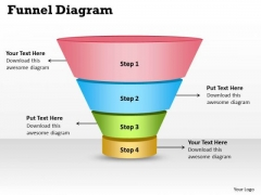 Sales Diagram 4 Steps Of Business Funnel Diagram Consulting Diagram