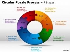 Sales Diagram 7 Components Circular Puzzle Process Business Finance Strategy Development