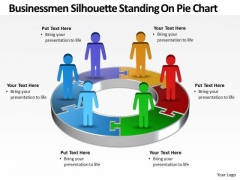 Sales Diagram Busines Men Silhouettes Standing On Pie Chart Consulting Diagram