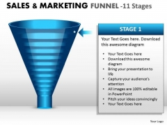 Sales Diagram Business Marketing Funnel With 11 Stages Consulting Diagram