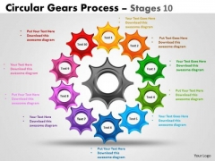 Sales Diagram Circular Gears Process Stages 10 Consulting Diagram