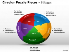 Sales Diagram Circular Puzzle Pieces 5 Stages Consulting Diagram