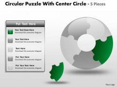 Sales Diagram Circular Puzzle With Center Circle 5 Pieces Consulting Diagram