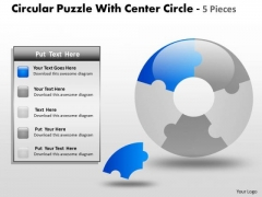 Sales Diagram Circular Puzzle With Center Circle 5 Pieces Strategy Diagram