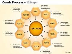 Sales Diagram Comb Process 10 Stages PowerPoint Slides Strategy Diagram