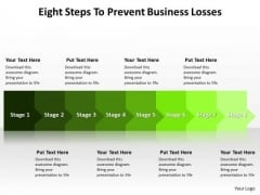 Sales Diagram Eight Steps To Prevent Business Losses Consulting Diagram
