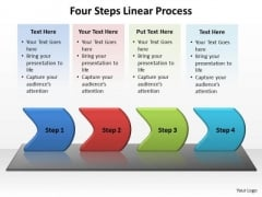 Sales Diagram Four Steps Linear Process Business Framework Model