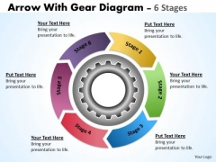 Sales Diagram Illustration Of 6 Stages Multicolored Gears Mechanism Business Diagram