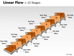 Sales Diagram Linear Flow 11 Stages Consulting Diagram