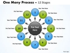 Sales Diagram One Many Process 12 Stages Strategic Management