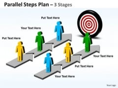 Sales Diagram Parallel Steps Plan 3 Stages Style Business Cycle Diagram