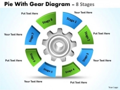 Sales Diagram Pie With Gear Diagram 8 Stages Business Cycle Diagram