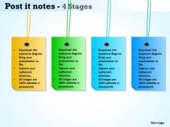 Sales Diagram Post It Notes 4 Stages Strategic Management