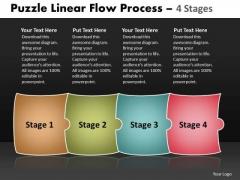 Sales Diagram Puzzle Linear Flow Process 4 Stages Business Framework Model