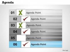 Sales Diagram Six Staged Business Agenda Checklist Business Diagram