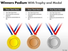 Sales Diagram Winners Podium With Trophy And Medal Business Framework Model