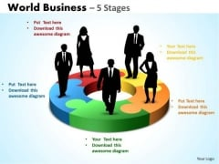 Sales Diagram World Business 5 Stages Consulting Diagram
