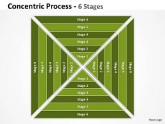 Square Concentric Process 6 Stages Business Cycle Diagram