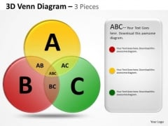Strategic Management 3d 3 Pieces Venn Business Diagram