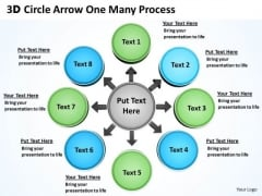 Strategic Management 3d Circle Arrow One Many Process Sales Diagram