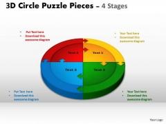 Strategic Management 3d Circle Puzzle Diagram 4 Stages Business Diagram