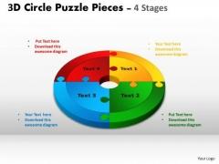 Strategic Management 3d Circle Puzzle Diagram 4 Stages Consulting Diagram