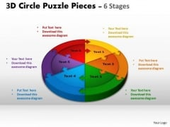 Strategic Management 3d Circle Puzzle Diagram 6 Stages Business Diagram