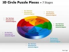 Strategic Management 3d Circle Puzzle Diagram 7 Stages Business Diagram