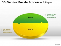 Strategic Management 3d Circular Puzzle Process 2 Stages Style Templates Marketing Diagram