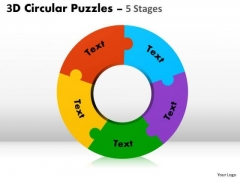 Strategic Management 3d Circular Puzzles 5 Stages Sales Diagram