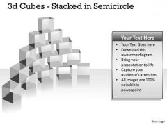 Strategic Management 3d Cubes Stacked In Semicircle Business Diagram