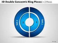 Strategic Management 3d Double Concentric Rings Pieces 6 Sales Diagram