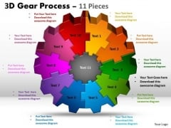Strategic Management 3d Gear 11 Pieces Style Sales Diagram