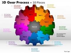 Strategic Management 3d Gear Process 10 Pieces Business Diagram