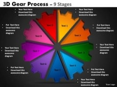 Strategic Management 3d Gear Process 9 Stages Consulting Diagram